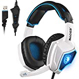 Newest SADES Spirit Wolf USB Over Ear Computer Gaming Headset with Mic, Vibration Effect, Noise Isolating Volume Control LED Light For PC Gamers (Black White)