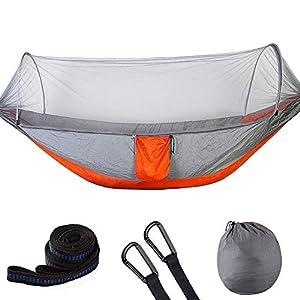 Fdit Hamaca Doble Columpio Portátil Columpio de Viaje Cama Colgante para Dormir con Mosquitera(Gray+Orange)