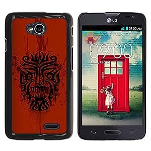 TECHCASE**Cubierta de la caja de protección la piel dura para el ** LG Optimus L70 / LS620 / D325 / MS323 ** Dragon Tribal Indian Native Red Pattern