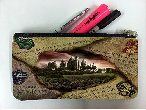 Imagen de periódico Hufflepuff Slytherin de Hogwarts Gryffindor Ravenclaw estudiante pluma lápiz caso bolsa de cosméticos bolsa de monedero: Amazon.es: Oficina y papelería