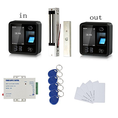 Bio Fingerprint Track both IN and OUT Access Control Kit 600lbs electromagnetic Lock 110V Power Supply RFID Keychians/Cards by MENGQI-CONTROL