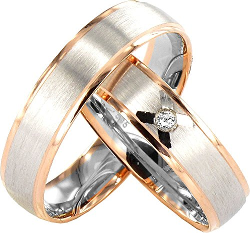 JC TRAURINGE 2 corazones colección 333 anillos de bodas 8 Karat rojo - & oro blanco