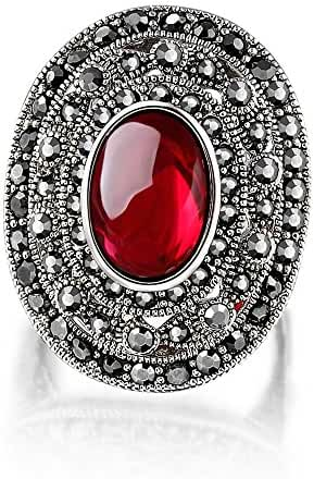 Mytys Antiqued Marcasite Crystal with Red Resin Oval Rings