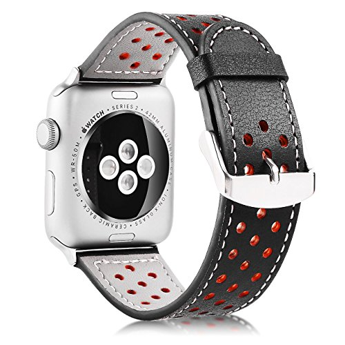 Price comparison product image For Apple Watch Band 38/42mm-Xihe Genuine Leather Breathable Strap Smart Watch Band Bracelet Replacement Wristband with Stainless Steel Adapter Clasp for Apple Watch Series 3/2/1 Sport and Edition