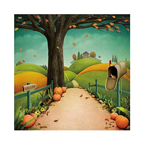 Laeacco Autumn Harvest Background 8x8ft Thanksgiving Day Vinyl Photography Backdrop Cartoon Autumn Scenery Welcome Town Pumpkin Fallen Leave Mailbox Halloween Hallowmas Party Baby Photo Prop Studio