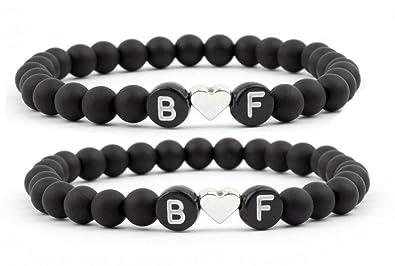 hochwertige Materialien 60% Freigabe suche nach neuestem Milosa Armband Set Buchstaben mit Herzperle - Perlenarmbänder  Personalisiert mit zwei Buchstaben - Couple Schmuck
