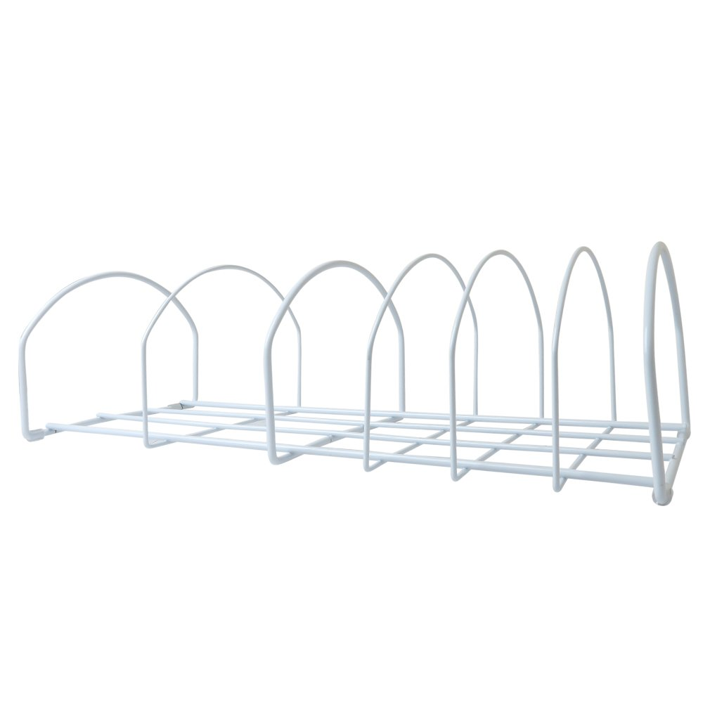 Evelots Long Pot/Pan & Lid Storage Rack, 6 Slots, Plate Chrome