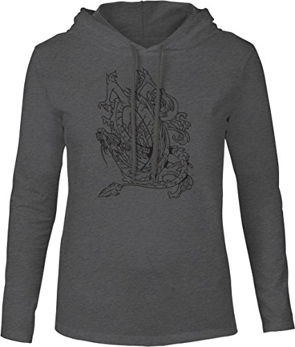 Dragon Art Dark T-shirt (Big Texas Dragon in Flight Line Art (Black) Mens Fine Jersey Hooded T-Shirt, Dark Grey Marle,)