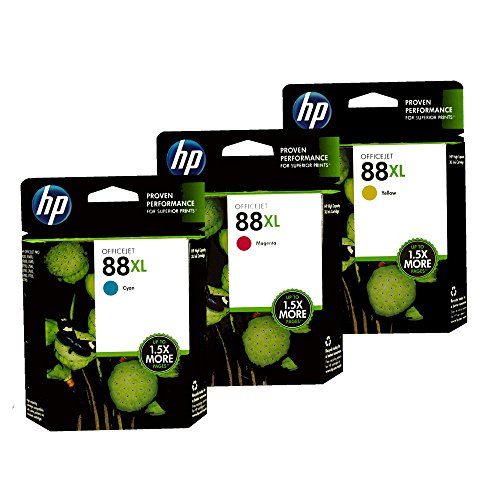 HP 88XL 3 Pack of Color Ink Cartridges (1 Cyan, 1 Magenta, 1 Yellow)