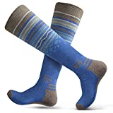 OutdoorMaster Adult Ski Socks (2-Pack) - Merino Wool Breathable Blend, Warm and Comfortable Over The Calf (OTC) Design with Non-Slip Cuff - for Men & Women - Blue,M/L