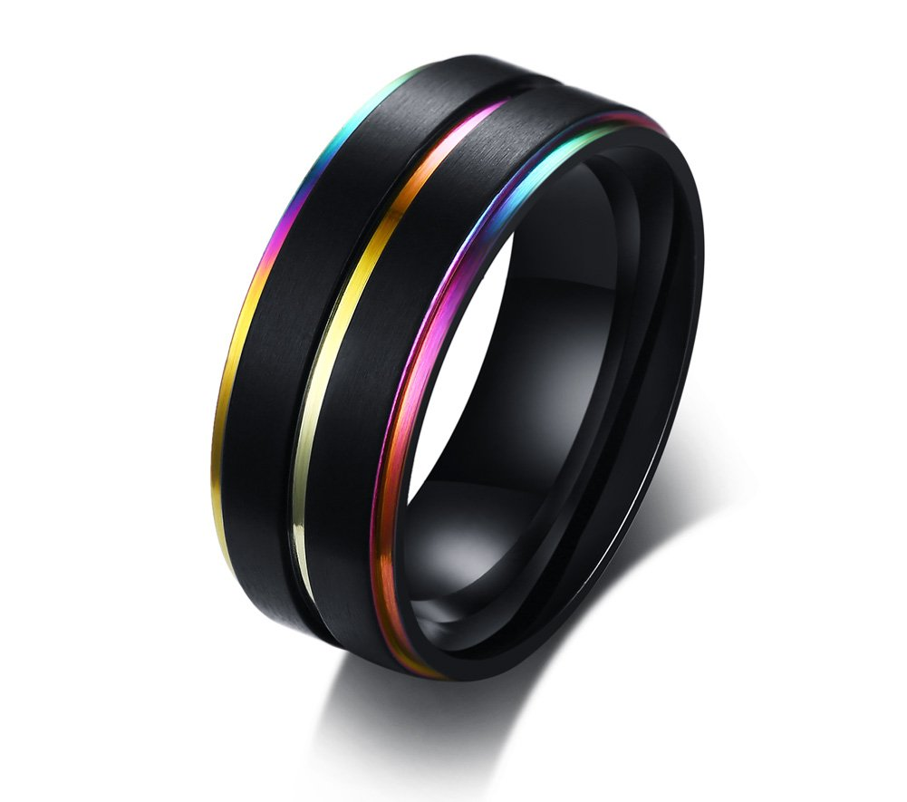 Stainless Steel Three Rainbow Edge LGBT Pride Ring for Lesbian & Gay Wedding Engagement Band,Size 10