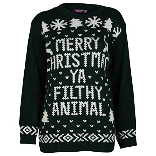 Saute Styles - Jerséi - para mujer Style 7: Black Merry Christmas Filthy Animal