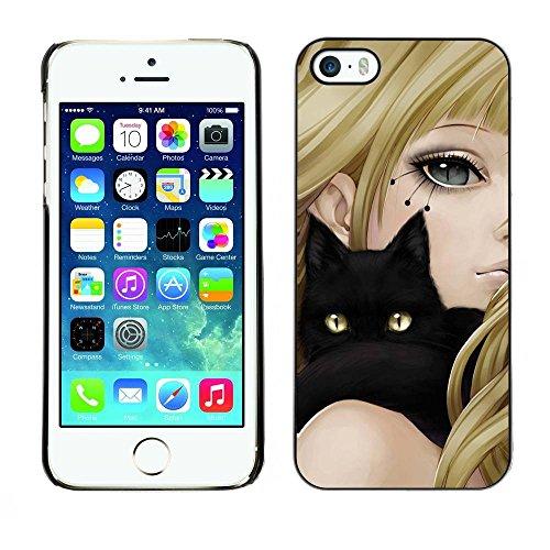 PC/Aluminum Mince Coque Housse Etui Pour Apple Iphone 5 / 5S Black Cat & Anime Girl / JUSTGO PHONE PROTECTOR