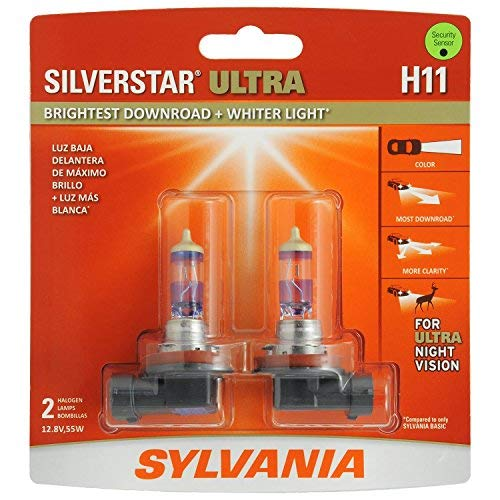 (SYLVANIA - H11 SilverStar Ultra - High Performance Halogen Headlight Bulb, High Beam, Low Beam and Fog Replacement Bulb, Brightest Downroad with Whiter Light, Tri-Band Technology (Contains 2 Bulbs) )