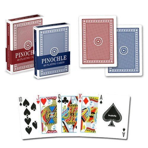 (Brybelly Pinochle Playing Cards (Pack of 12), Red/Blue)