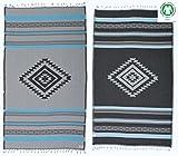 DESIGNER COLLECTION - Bersuse GOTS-Certified 100% Organic Cotton - Cancun Turkish Towel Peshtemal - Bath Beach Fouta Pestemal - Aztec Bohemian - 37X70 Inches, Aqua (Set of 6)