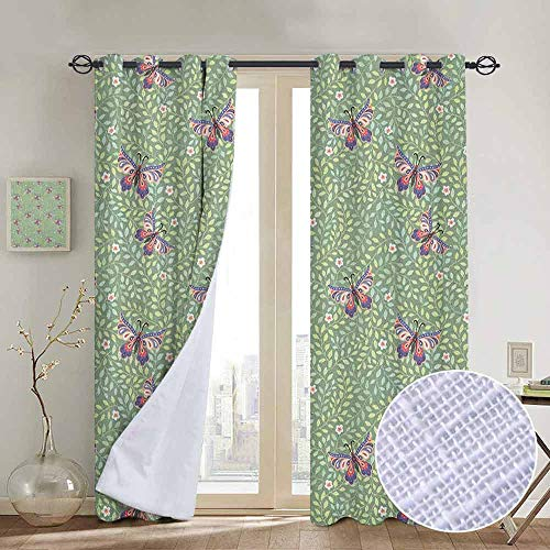 (NUOMANAN Window Curtains Butterfly,Pastel Colored Foliage Background with Spring Bugs with Ornate Paisley Motifs, Multicolor,Tie Up Window Drapes Living Room 52