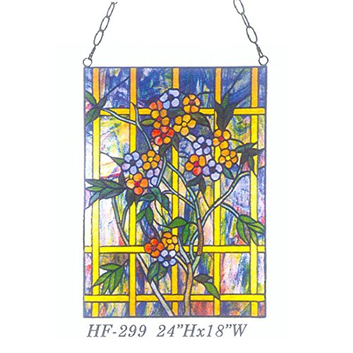 HF-299 Tiffany Style Stained Glass Pastoral Lovely Small Flowers Rectangle Window Hanging Glass Panel Sun Catcher, 24''Hx18''W by Gweat Window Hanging