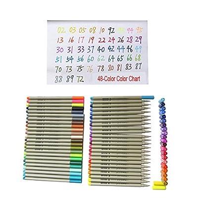Assorted 48-color Finecolour Sketch Fineliner Set water-based ink, 0.3mm Fine Liner Pens, 48PCs Pack of Line Writing Pen Assorted Colors