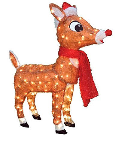 ProductWorks 48″ Rudolph 3D Pre-Lit Yard Art Rudolph With Santa Hat - Blinking Nose-Rudolph The Red Nosed Reindeer