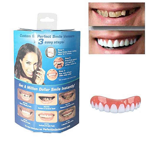 Perfect Instant Smile Cosmetic Secure Teeth Veneer False for Adults, Snap On Smile Gap Bands Silicone Temporary Top Upper Tooth Replacement Kits Seen on TV Dental Product Denturepaste by BOYON
