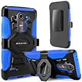 G4 Case, LG G4 Case, Cellularvilla Dual Layer [New Generation] [Heavy Duty] Armor Rugged Holster Case with Kickstand [Rotating] Locking Belt Swivel Clip Protective Cover for LG G4 (Blue Black)