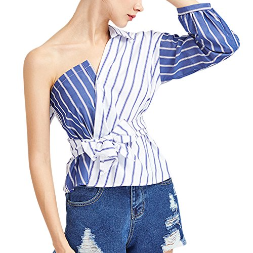 Yiitay Women One Shoulder Half Puff Sleeve Stripe Blouses With Bowknot