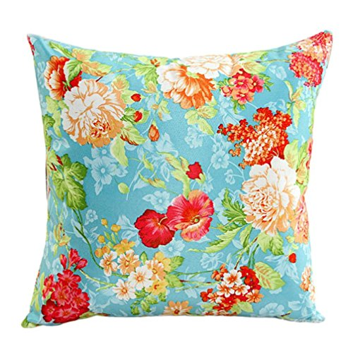Fineshow Colorful Flower Floral Pattern Couch Home Bed Decor Pillow Case Cushion Cover (Blue) (Headdress Faux Suede)