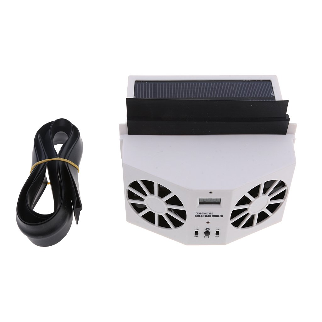 MagiDeal Solar Powered Car Air Vent Exhaust Fan Radiator Vent With Ventilation White