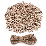 aHeemo Mini Clothespins, Mini Natural Wooden Clothespins with Jute Twine, Multi-Function Clothespins Photo Paper Peg Pin Craft Clips, 250 PCS