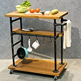 Industrial Portable Kitchen Island on Wheels,Bar Carts for the Home Wine Bar Beverage Coffee Cart,Metal Rolling kitchen carts and islands,Wood and Pipe 3-Tier Butcher Block Island Food Serving Cart Review