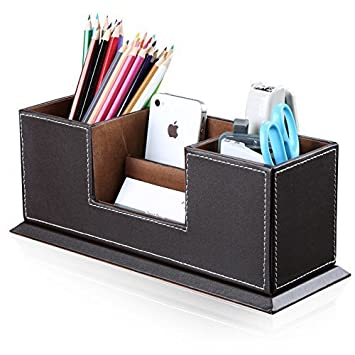 Desk Accessories & Organizer Pen Holders 7 Storage Compartments Multifunctional Leather Office Desktop Organizer Business Card Pen Pencil Mobile Phone Holder Stationery Elegant In Smell