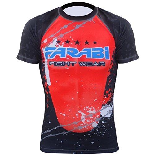 MMA rash guard compression top gym training body armour BJJ base layer by farabi