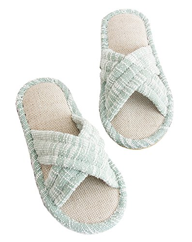 Cattior Womens Bow Mignonnes Pantoufles Intérieur Chaussures À Bout Ouvert House Vert