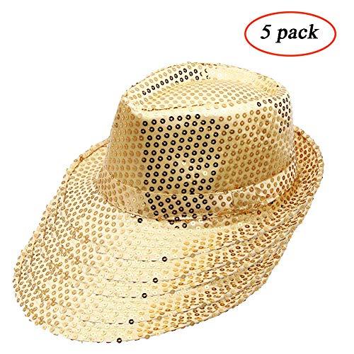 Funkeet Adult Sequin Fedora Hat Kid Dance Cap Solid Jazz Hat Party Glitter Costum (L-Adult, -