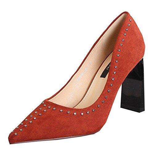 Sexy Daim Talons Pantoufles Rivets Printemps Pointues de Femme 9cm Sandales Chaussures Talon Automne Chaussures Chunky et Chaussons YxSFqXgX