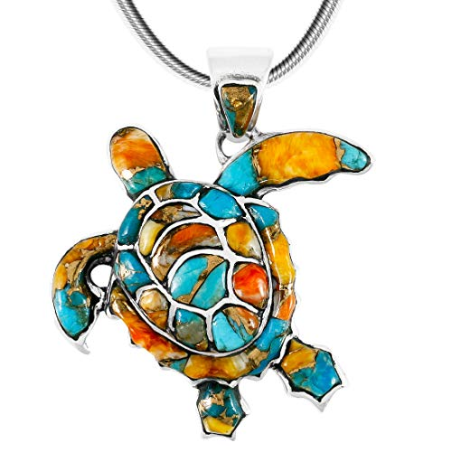 "Turtle Pendant Necklace 925 Sterling Silver Genuine Gemstones (20"", Spiny Turquoise)"