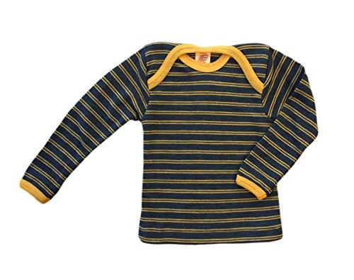Engel 100% merino wool striped baby T-shirt thermo underwear (98/104, Sapphire/Sunshine yellow)