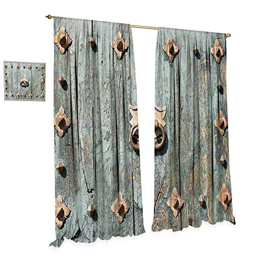 cobeDecor Rustic Window Curtain Fabric European Cathedral with Rusty Old Door Knocker Gothic Medieval Times Spanish Style Drapes for Living Room W84 x L108 ()