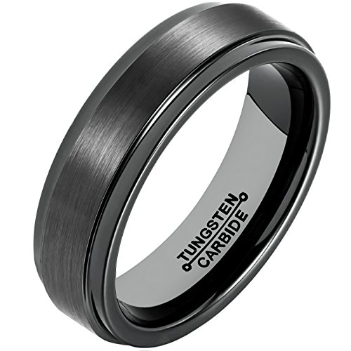 MNH Tungsten Carbide Black Men's 6mm Wedding Band Brushed Matte Finish Polished Edge Engagement Rings,size 10.5