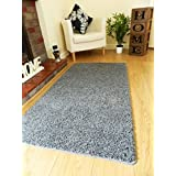 NEW SOFT PLAIN SHAGGY MATS MACHINE WASHABLE NON SLIP LARGE SMALL BEDROOM RUGS (66 x 120 cm) (CHARCOAL GREY) by Rugs Superstore