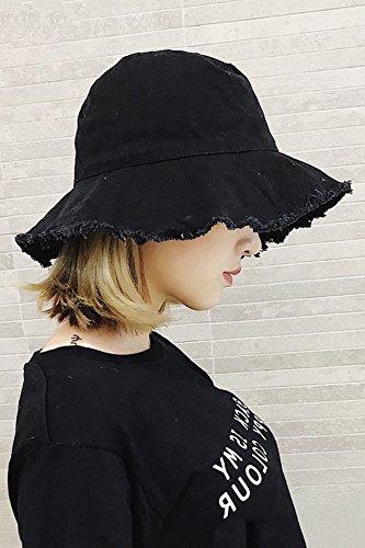 Generic hat Korean_style_of new_ women girl _torn_edges_denim_visor_wild_ hats _edge_grinding_basin_ cap hat _can_be_folded_cloth_ cap - Torn Visor