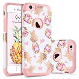 BENTOBEN iPhone 6S Case, iPhone 6 Case, iPhone 6S Silicone Case, Shockproof Anti-scratch 2 in 1 Hybrid Hard PC Soft Silicone Protective Pineapple Case for iPhone 6 / iPhone 6S - Rose Gold