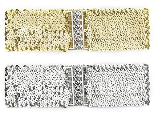 (uxcell Sequins Decor Metal Interlocking Buckles Waist Belt Gold+silver Waist: below 33