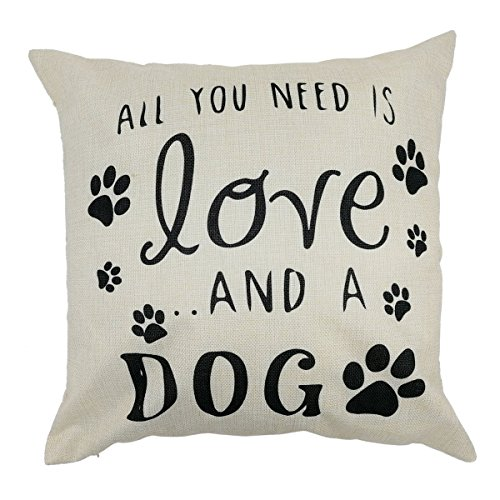 Arundeal All You Need is Love and A Dog Paw Print 18 x 18 Inch Cotton Linen Square Throw Pillow Cases Cushion Cover