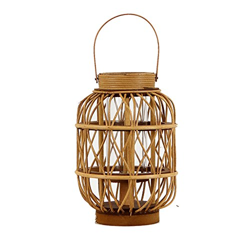 KMYX Vintage Bamboo Weaving Lantern Windproof Glass Candlestick Candle Hanging Lights Portable Candle Holder Decorative Loft Corridor Garden Family Restaurant Candle Lantern (Size : Small) - Oriental Glass Candle Holder