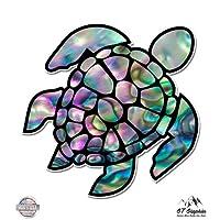 "Sea Turtle Natural Shell Pearl Texture Green Purple - 3"" Vinyl Sticker - For Car Laptop I-Pad Phone Helmet Hard Hat - Waterproof Decal"