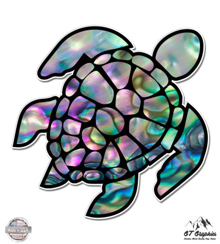 Sea Turtle Natural Shell Pearl Texture Green Purple - 3