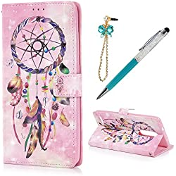 ZTE ZMax Pro / ZTE Z981 Case Wallet, KASOS Colorful Painting 3D Pink Dreamy Pattern PU Leather Wallet Case with Kickstand Card Holders Magnetic Flip Cover & Dust Plug & Stylus - Dream Catcher