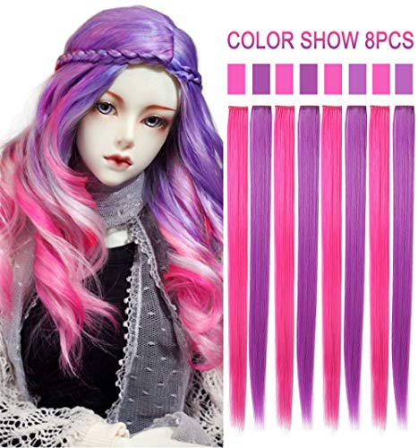 Rhyme 20'' 8PCS Pink Purple Hair Pieces for Girls Princess Party Highlight Colored Hair Extensions Clip in/On for Girls and Kids Wig Pieces for Dolls ()